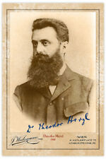 THEODOR HERZL Zionist Visionary 1900 Photograph Autograph RP Cabinet Card CDV