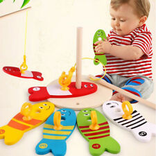 Kids Wooden Column Game Digital Fishing Set Toy Children Early Education Toys HM
