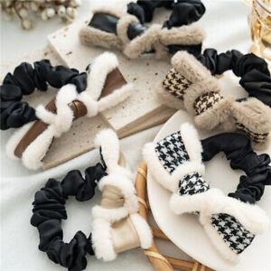 Women Faux Rabbit Fur Leather Plaid Hair Ring Autumn Winter Scrunchies Hair Hoop