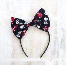 Black, Red & White Dice tattoo Print Hair Bow Headband Rockabilly Pin up