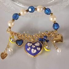 B328 BETSEY JOHNSON Stripey Blue Hearts with Milk Cow Heart Bracelet US