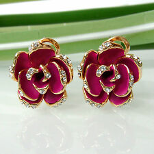 Navachi Flower Stereo Rose Red Enamel 18K GP Crystal Omega Earrings BH2512