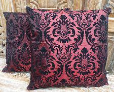 Balinese Cushion Covers Burgundy Black Hand Made Velvet Embroidery (pair) 50cm