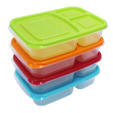 4 Pack Bento Lunch Box Meal Prep Food Plastic Storage Containers Kids Adulds
