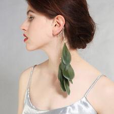 Bohemia Feather Elegant Fashion Earrings Stud Dangle Green Long Big Tassel 1PCS