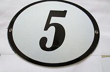 Hausnummer Emaille Oval schwarze Nr. 5  weißer Hintergrund 19 cm x 15 cm