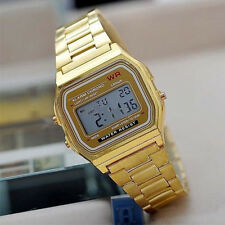 New Fashion Retro Unisex Stainless Steel Digital Led Wrist Watch Gift Gold