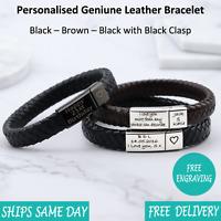 Vienna Brown Black Leather & Stainless Steel Mens Personalised Engraved Bracelet