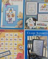 Lot of CROSS STITCH Pattern Books of ALPHABETHS & SAMPLERS Bears & Elephants