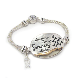 ACCEPTANCE COURAGE SERENITY Inspirational Bangle Bracelet Silver NEW