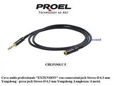Proel CHLP190LU5 Prolunga cuffie Cavo audio EXTENSION jack e presa Stereo Ø 6,3