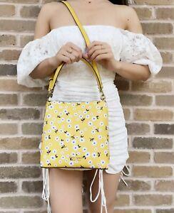 Kate Spade Darcy Fleurette Floral Small Bucket Bag Crossbody Yellow Multi