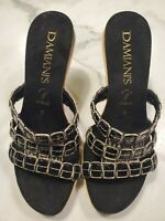 Damiani's Size 7 Women's Sandals Made in Italy Black Slip On Wedge Heels Shoes