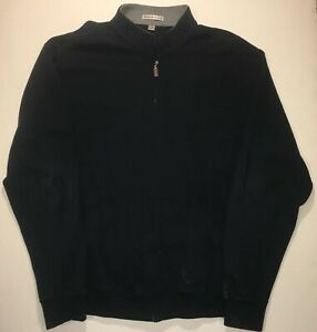 PETER MILLAR COLLECTION Full Zip Up Cotton Sweater Track Jacket L Large Black
