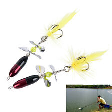 2PC/Lot Long Casting Hook Spinner Bait Metal Fishing Lure Double Tail PropellerF