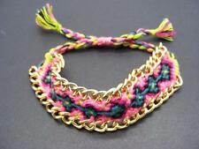 $12 Stephan & Co Pink/Green Woven Thread & Goldtone Chain Shamballa Bracelet