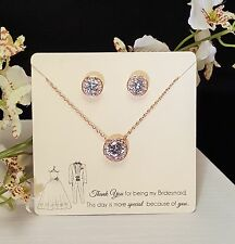 Gorgeous 18 Rose Gold Plated Necklace Set /Bridesmaid Gifts / Mother of the Brid