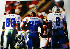 AIKMAN, IRVIN & SMITH / AUTOGRAPHED 16X20 COWBOYS TRIPLETS PHOTO / PLAYER HOLOS