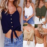 Womens Button Sleeveless Chiffon Crop Top Vest Tank Summer T-Shirt Blouse Tops