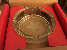 """4.25"""" Glass Ashtray Etched w/ 5-pt Star -Made in FRANCE by ARC INTL- FREE SHIPPN"""