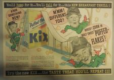 Kix Cereal Ad: Great Images for Framing!  from 1930's-1940's 11 x 15 inches