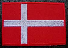 DENMARK Embroidered Danish National FLAG Sew on Glue on Cloth BADGE Nordic Patch