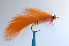 10 x Mouche de Peche Streamer Zonker Orange BILLE H8/10/12 alevin fly tying fly