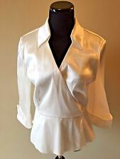 Metaphor White Shiny Formal 3/4 Sheer Sleeve Wrap Peplum Blouse Top size M L S6