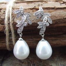 "GE032615 1.5"" White Teardrop Sea Shell Pearl CZ Pave Earrings"