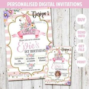 'YOU PRINT' Digital UNICORN 1st First Birthday Party Invitation Floral Gold Girl