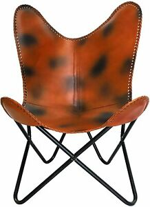 Genuine Leather Handmade Butterfly Chair Seat Folding Modern Sling Loung Vintage