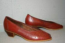 9.5 M Wine Dexter Vtg 80s Peep Toe Cut Out Wedge Heel Slip On Leather Shoe