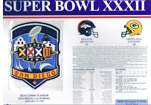 Super Bowl XXXII Denver Broncos vs Packers Willabee & Ward Football Jersey Patch