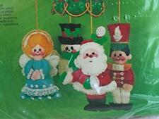 Vintage Bucilla Felt Holiday Ornament Kit Christmas Go-Round 3416 Mobile Jeweled