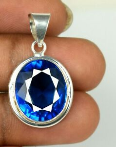 Free Chain 31.85 Ct Oval Cut London Blue Topaz 925 Sterling Silver Pendant Z5298