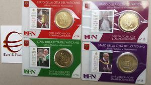 4 x 50 cent 2 euro coin card N 14 15 16 17 Vaticano 2017 Vatican Vatikan Ватикан