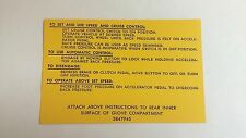1963-1966 Chevrolet Impala Belair Biscayne Cruise Control Instruction Decal