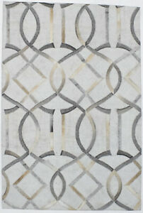 Silver Handcrafted Modern Cowhide Patchwork 4X6 Leather Area Rug Decor Carpet