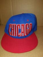 CHICAGO Hat Cap One Size Fits All Blue Red White Snap Back Flat Bill