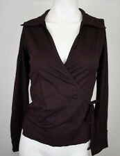 Portmans Womens S Top Wrap Tie Blouse Stretch Long Sleeve Brown Work Dinner D133