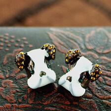 Very lovely enamel bull dog / puppy stud earrings