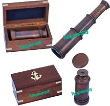 Vintage  Antique Brown Brass Solid Telescope Maritime With Wood Box Item