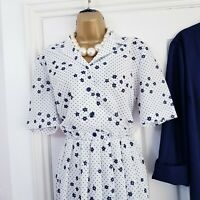 Vintage 80s Navy Spotted Ditsy Print Tea Dress Jacket WW2 Home Front Size UK 14