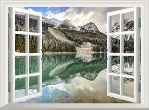 Lake Mountain 3D Effect Window View Wall Sticker Poster Vinyl Decal Mural Art