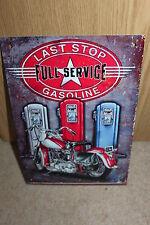 Última parada de servicio completo gasolina Vintage Americana Metal SIGN-Nuevo