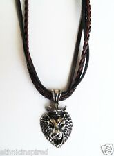 "AFRICAN ETHNIC INSPIRED MENS 21"" STAINLESS STEEL LION LEATHER CORD NECKLACE"