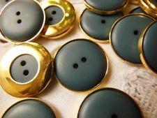 lot 12 boutons bleu pourtour métal doré couture mercerie diamètre: 1,9 cm TC