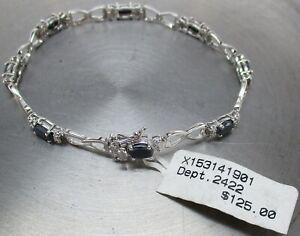 """925 STERLING SILVER Genuine SAPPHIRE Link 7"""" Designer Bracelet ~ MSRP: $125"""