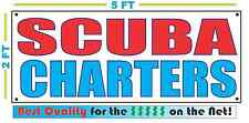 SCUBA CHARTERS Full Color Banner Sign NEW Larger Size Best Quality for the $$$