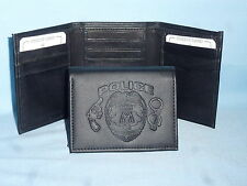 Police POLICE OFFICER Policeman   Leather TriFold Wallet    NEW    black 3  m3